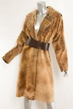 GIULIANA TESO Brown Camel Laser-Cut Shearling Long Belted Fur Coat Jacket 6-42