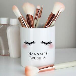 Personalised Eyelashes Ceramic Storage Pot Make Up Brush Holder Bride Hen Gift