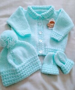 NEW. Hand Knitted Turquoise Cardigan/ Jacket, Hat and Mittens. 0-3 Months.