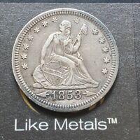 !@@k 1853 25c Seated Liberty Quarter - Arrows & Rays - XF Plus - Silver 90%