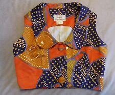 1960s 1970s Hawaiian Print Crop Top Blouse Vest Shirt Rockabilly Pinup