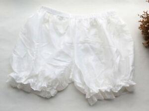 Women Shorts smooth&Ruffle Mesh Bloomers underwear Silky Ladies Lolita Shorts S