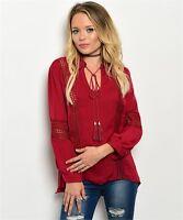 New Boho Peasant Crochet Hi-Low Front Tassel Tie Western Tunic Top S-M