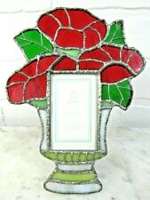 """Handmade Stained Glass Picture Frame Vase Flower Morning Glories 7X5 Pic Sz 2X3"""""""