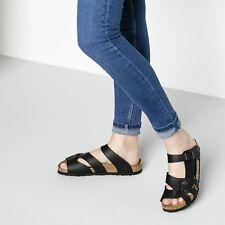 Birkenstock Women's Pisa Leather Birko-Flor Slide on Sandals Black 38 Size 7-7.5