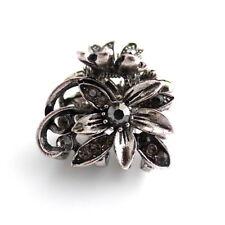 "Mini 1"" Antiqued Silver Rhinestone Crystal Vintage Style Updo Hair Claw Jaw Clip"