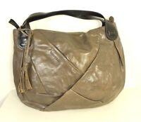 MARC O'POLO Beuteltasche Beutel Shopper Handtasche Leder Taupe Schwarz  (H33)