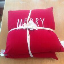 """Rae Dunn SET of 2 Red Christmas Pillows """"MERRY"""" """"CHRISTMAS """" New"""