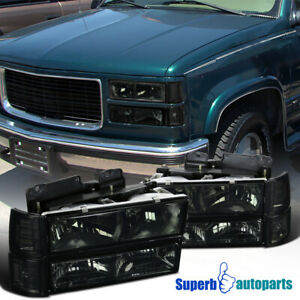 For 94-98 GMC C10 C/K Sierra Smoke Headlights+Bumper Corner Lights+s