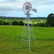 New listing 8ft. Steel Windmill Ornamental Silver W/Red Weather Resistant Garden Yard Decor