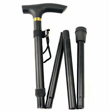 Deluxe Fold-able Walking Stick/Cane, Lightweight & Adjustable with Strap, Black