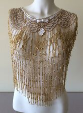 New Sequin Gold Bead Scarf Shawl Wrap White net Bling Diamond sexy Lace Collars
