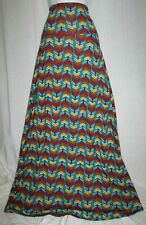 LuLaRoe Maxi Skirt Long Floor Length Yoga Waistband A-Line Teal Aztec Medium