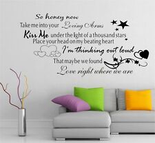 Ed Sheeran Thinking Out Loud Song Music Lyrics Quote, Wall Art sticker, New!!
