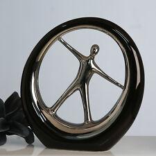 moderna Scultura decorativa OGGETTO SPORTING ceramica nera/ARGENTO DIAMETRO 31