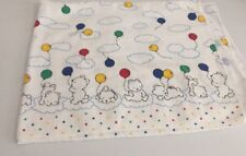 Carters Baby White Receiving Blanket Bear Balloon Clouds Primary Red Blue Yellow
