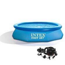 "Intex 10' x 30"" Easy Set Inflatable Above Ground Swimming Pool with Air Pump"
