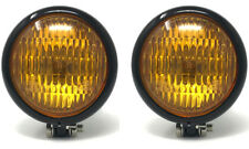 "4.75"" 120mm BLACK Bates Style E-marked Yellow Metal Headlight for Classic Cars"