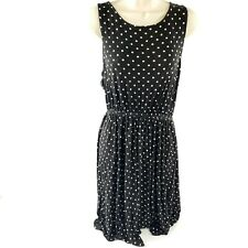 Bobeau Made in USA Polka Dot Black White Stretch Tank Top Sleeveless Dress
