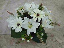 künstliche Blumen künstliche pflanzen  blumen Grabgesteck Gerbera/Lilien-creme-A