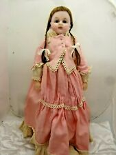 """20"""" English Poured Wax Doll,Stamped Lucy Peck,  Antique Doll Rarer Brown Eyes,"""