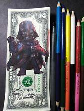 Darth Vader Hobo Dollar $1 $2 $5 Dollar Bill Original Art Real Money