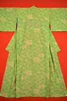 Vintage Japanese Wool Antique BORO KIMONO Kusakizome Dyde Textile/YC92/695