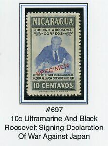 Nicaragua MNG FDR SPECIMEN Specialized: Scott #697 10c Thin Font $$$