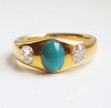 Stunning Victorian 18ct Gold Diamond (0.75ct) & Turquoise set Trilogy Ring c1895