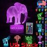 LED Night Light 3D Elephant Color Change Table Desk Lamp Kids Xmas Home Decor