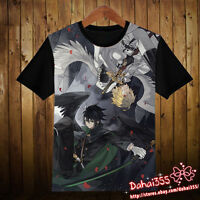 Anime Seraph of the End  Short Sleeve Unisex Black Clothing T-Shirt Tops #3