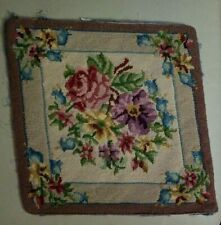 "Vintage Needlepoint Tan Floral 14"" X 13"""