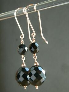 Vintage 1950's Faceted Black French Jet Beads & 24ct Rose Gold Vermeil Earrings