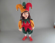 """Jester Buffoon Marionette Puppet 14"""" tallHandmade Czech Republic"""