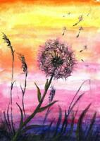 ACEO Dandelion flowers Sunset miniature original painting art acrylic sign
