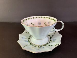 Meritage Tea Cup and Saucer Blue Flower with Butterfly