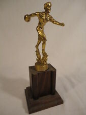 Vintage 1960's Women's Bowling Tournament Wood & Metal Trophy HD2