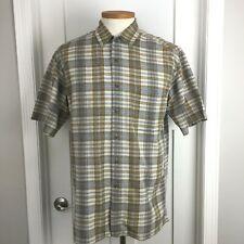 High Sierra Button Up Mens Shirt Sz M Short Sleeve Tan Blue Plaid Chest Pocket