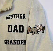 ARMY DAD, Brother, Grandpa Men's 2XL Beige Pullover Military Honor Shirt XXL