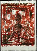 """Kunst in der DDR. """"Amok"""" 1988 Lithogr Andreas KÜCHLER (1953-2001 D) handsigniert"""