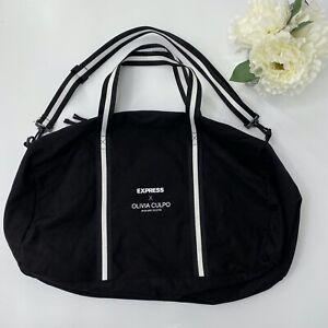 Express x Olivia Culpo Duffle Bag Black White Striped Tote Gym Large