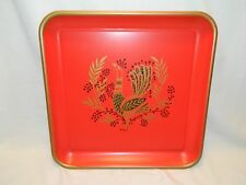 VINTAGE TTTAXEY RED & GOLD METAL TRAY WITH GOLD & BLACK ROOSTER