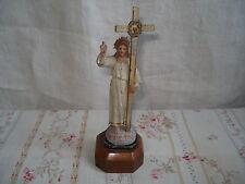 Statuette ancienne SACRE COEUR de JESUS CHRIST en PLOMB Peint  Sacred Heart