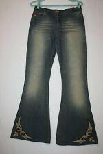Miss Sixty Low Waist Western Flare Jeans Sz 31 (meas 30x34) Leather Trim Italy