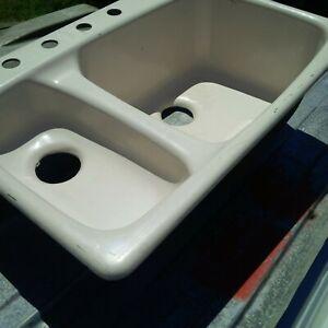 Kohler Lakefield Double Kitchen Sink Cast Iron K5924 High Low Almond w/ Wear