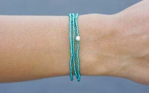 Sashka Co TEAL WRAP Bracelet Glass Bead Nepal Handmade Fair Trade + Wrap