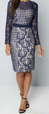 New Little Mistress Lace Bodycon Midi Dress Navy Size UK 8 RRP£62