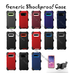 For Samsung Galaxy S10 / S10+ Plus / S10e Defender Hard Case w/Holster Belt Clip