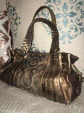 🗝 Fossil Bronze Metallic Laser Cut Leather Slouchy Coachella Boho Tote