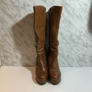 Aldo Leather Wedge Boots Brown Size 9/40